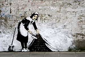 grande affiche banksy camden town maid sweeper femme de menage papier poster dimensions 91 5 x. Black Bedroom Furniture Sets. Home Design Ideas