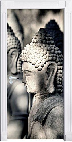 meditating-buddha-statues-in-a-row-as-mural-format-200x90cm-door-frame-door-stickers-door-decoration