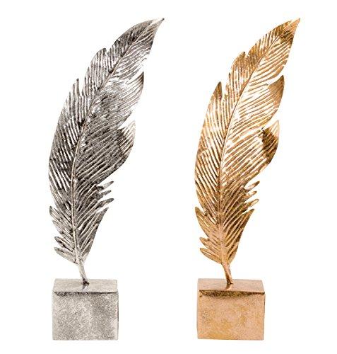Lifestyle & More Moderne Feder Skulptur auf einem Sockel aus Metall in Silber oder Bronze Höhe 41 cm