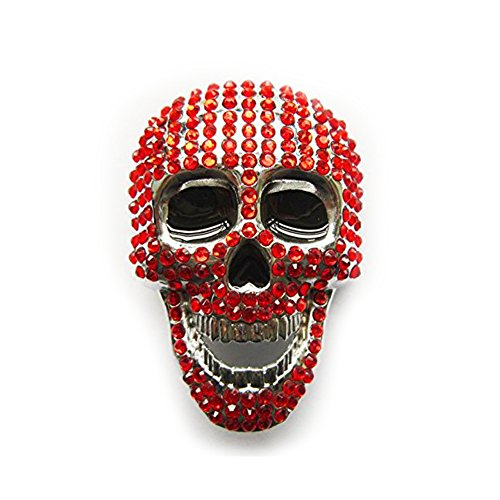 eeddoo® Gürtelschnalle - kunstvoller Totenkopf mit roten Kristallen - Skull (Buckle für Wechselgürtel für Damen und Herren | Belt Frauen Männer Oldschool Rockabilly Metall Gothic Wave Rock Biker) (Rote Metall-gürtelschnalle)