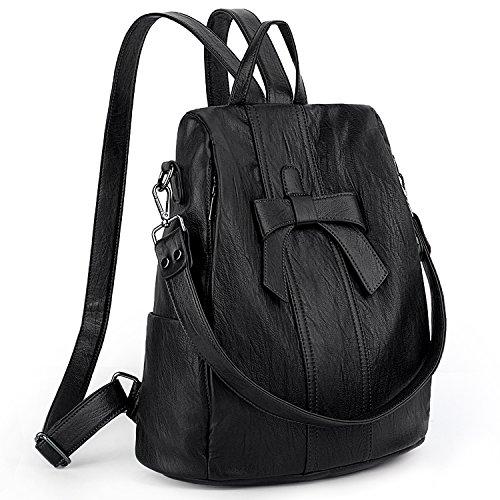 Uto zaino donna antifurto fiocco borsa a spalla da donna con tracolla trasformabile in pelle sintetica morbido nero