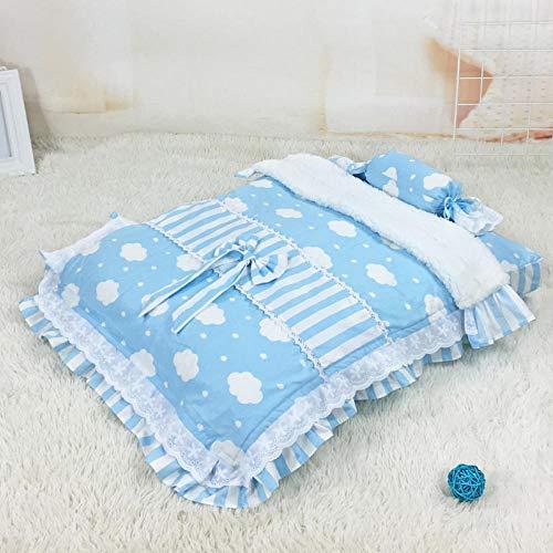 chendandan Schlafplätze Haustiermatratze Hundebettwäsche Baumwollgewebe Abnehmbar Und Waschbar Ohne Holzbett Blau Gestreifte Wolken 60 * 48 * 6Cm Hunde Betten -