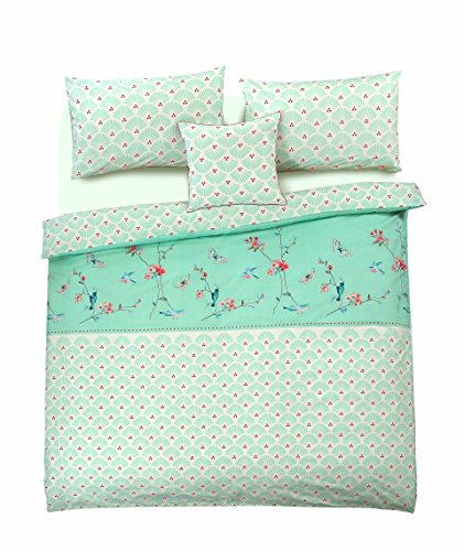 Sophie Birds Flowers Floral Duvet Cover & Pillowcases Reversible 100% Cotton Mint Green Bedding Set (King)