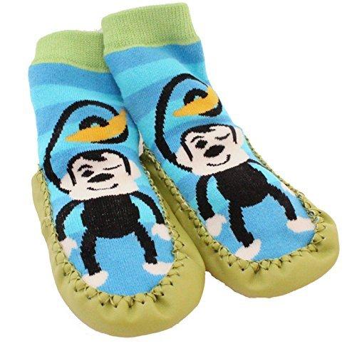 Chaussettes façon chaussons antidérapantes pour bébé et jeunes enfants, motif singe et rayures bleues