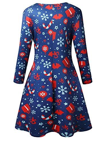 Women Long Sleeves Santa Christmas Xmas Gifts Print Flared Swing Dress Top