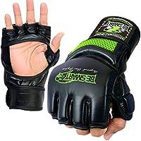 BeSmart Guantes de gel para boxeo y artes marciales mixtas, piel de conejo Rex, para saco de boxeo, muay thai y UFC, mujer, color Green Mesh, tamaño Large
