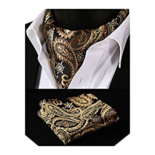 HISDERN Men's Floral Jacquard Woven Ascot Set One Size Gold/Orange