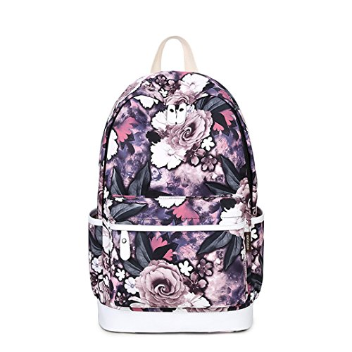 Einzigartige Druck Rucksack Frauen Floral Bookbags Wasserdichte Leinwand Rucksack Schultasche Für Mädchen Rucksack Casual Purple