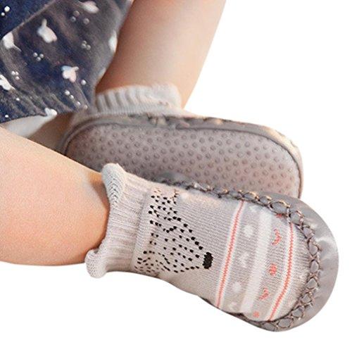 Janly Schuhe für 0-2 Jahre Baby, schöne Anti-Rutsch-Socken Slipper Neugeborenen Indoor Cartoon Tier Mokassins Stiefel Baumwolle Schuhe Junge Mädchen Socken (0-6 Monate, Grau)
