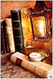 Wallario Garten-Poster Outdoor-Poster, Antike Laterne mit Kerze Alten Büchern und Taschenuhr in Premiumqualität, für Den Außeneinsatz Geeignet