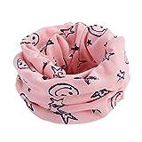 OverDose Neue Multicolor Kinder Baby Mädchen Jungen Warme Baumwolle Schal Winter Halstuch Tücher Rundschal Mit Smiley Sterne,A-Pink
