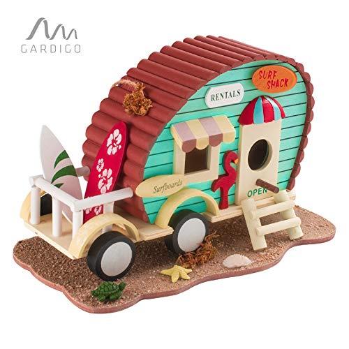 Gardigo Vogelhaus Wohnwagen I Dekoratives Vogelhäuschen für Garten, Terrasse oder Balkon I Nistkasten zum aufhängen, für Kleinvögel