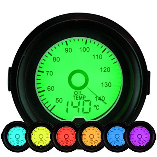 Fit Gauge (Auto-Öltemperatur, 7-Farben-LED-Öltemperatur-Temperatur-Messgerät Celsius-Messgerät mit 12V Power-Hintergrundbeleuchtung 50-140 Celsius 52mm / 2