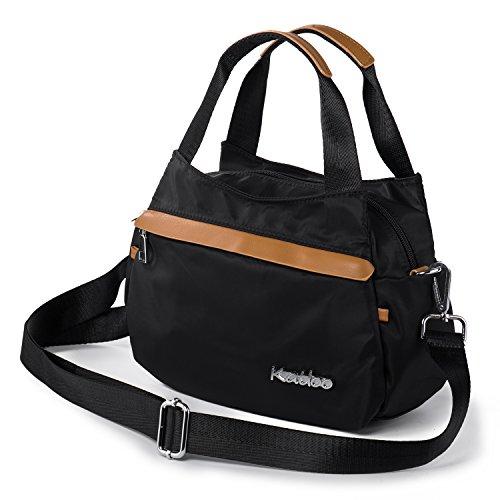 Katloo Damen Mädchen Kleine Umhängetasche Handtasche Tragetasche Hobo Tasche mit 4 Reißverschluss für Einkaufen Uni Reise, Nylon, Schwarz (Handtaschen Schwarz Body Stoff Cross)