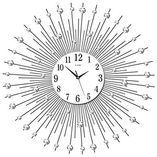 JUHUA Wanduhr, Stein Deko Diamant KRISTALL Wand Uhr, Wanduhr Sunburst Kristall Large,Silver 4x60x60 cm,70 * 70CM