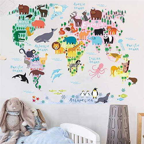 (EWQHD Tiere Thema Weltkarte Wand-Aufkleber Für Kindergarten-Kind-Raum-Ausgangsdekoration DIY Cartoon Wandkunst-Pvc-Kinderzimmer-Wand-Abziehbilder)