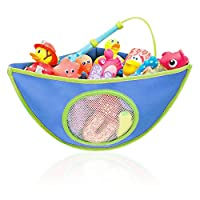 Baby Bath Toys Organiser, Toy Hammock Storage Corner Bag with 4 Adjustable Heavy Duty Lock Suction Cups, Portable Assorted Colour Miniature Animal Holder for 1-5 Years Children Babies Kids