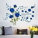 Wallpark Romantisch Blau Rose Blumen Schmetterling Abnehmbare Wandsticker Wandtattoo, Wohnzimmer Schlafzimmer Haus Dekoration Klebstoff DIY Kunst Wandaufkleber
