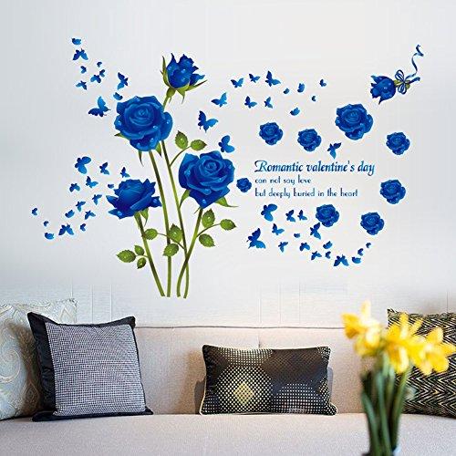 Wallpark romantico blu rose fiori farfalla removibile adesivi murali adesivi da parete, soggiorno camera da letto casa diy arte decorativo adesivo murale