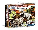 Clementoni Arqueojugando T-Rex y Triceratops fosforescente, juego de ciencia educativo (550548)