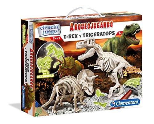 Clementoni - Arqueojugando T-Rex y Triceratops fosforescente, juego de ciencia educativo (550548)