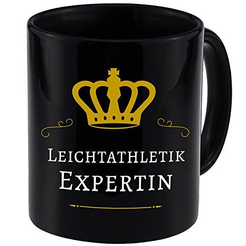 Tasse Leichtathletik Expertin schwarz - Becher Pott Kaffee Tee Lustig Witzig Sprüche