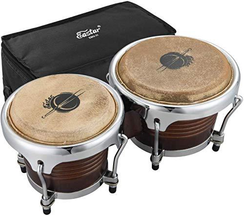 Eastar EBO-21 Bongo Trommel 7 Zoll/17.78 CM und 8 Zoll/20.32 CM Percussion Holzbongo mit Tasche, Dunkelbraun
