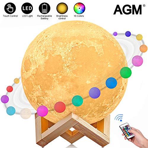 Lámpara Luna 3D, AGM Luz Luna, LED Lámpara Nocturna
