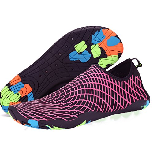 SAGUARO Unisex Wasserschuhe Badeschuhe Aquaschuhe Wasserdicht Schnell Trocknend Slip on Breathable Strandschuhe Schwimmschuhe Damen Neoprenschuhe Barfuß Schuhe für Herren Rose