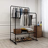 DUMEE Double Rail Clothes Rack Metal Garment Rack Heavy Duty Coat Racks Hanger With Top Rod and Lower Storage Shelf Clothes Rack Easy to Assemble Adds Instant Closet Space Black