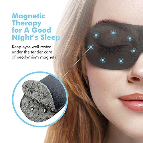 Schlafmaske Damen und Herren, Paitree 3D Magnettherapie Augenmaske  für komplette Dunkelheit und freies Bewegen der Augen, komfort Schlafbrille hilft bei Schlaflosigkeit für alle Kopfgößen (Maske Schlaf)