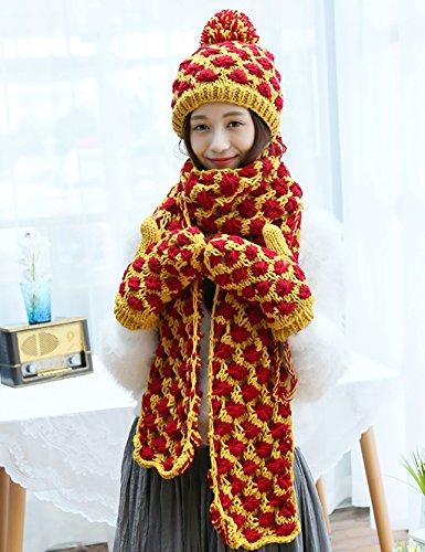 LHP Handmade Écharpe Chapeaux Gants Trois - Piece Femmes Chapeau d'hiver chaud cadeau d'anniversaire Haut de gamme B