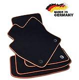 Premium Fußmatten Leon 3 5F Velours SCHWARZ Hochwertige Orange Umrandung Original Qualität Automatten
