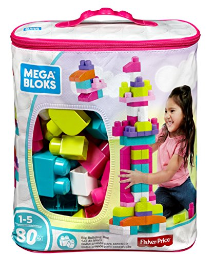 Mega Bloks DCH62 Bausteinebeutel Groß, 80 Teile, pinkfarben