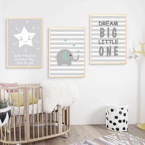 SpirWoRchlan 3er Set Kinderzimmer Poster Babyzimmer Ohne Bilderrahmen Mädchen Kinderposter Kunstdruck Babyzimmer Bilder Mädchen Deko Dekoration Kinderzimmer (Grau, 20x25cm)