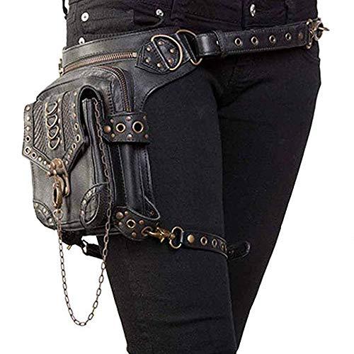 Borsa Steampunk Donna,Marsupio da Gamba / Borsa a Tracolla / Borsa da Gamba / Uomini Vintage Leather Shoulder Bag , Nero