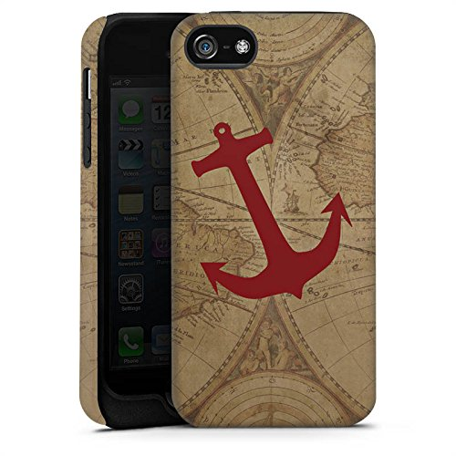 Apple iPhone 6s Hülle Premium Case Cover Anker Maritim Sommer Weltkarte Tough Case matt