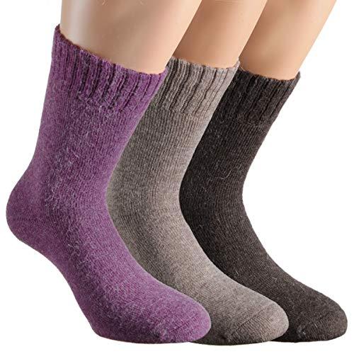 Vitasox 13352 Damen Socken Angora Damensocken Wollsocken Angorasocken Wintersocken einfarbig ohne Naht lila natur dunkelbraun 35/38 - Angora Socken