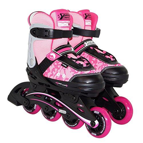 Best Sporting Inline Skates Größe verstellbar, ABEC 5 Carbon, Inliner Kinder und Jugendliche, Farbe: pink/schwarz, Größe: 29-34