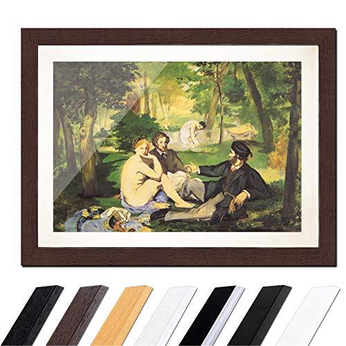 Bild mit Rahmen - Édouard Manet Das Frühstück im Grünen 30x20cm ca. A4 - Gerahmter Kunstdruck inkl. Galerie Passepartout Alte Meister - Rahmen wenge