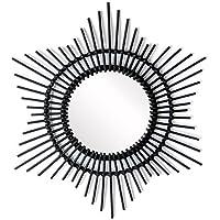 Black Velvet Studio - Miroir, Hawai rotin, Color Noir. Forme de Cercle. b088f233f7d1