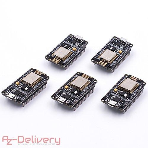 AZDelivery 5 x ESP8266 NodeMCU Amica V2 Modulo ESP-12E WiFi Development  Board con CP2102 per Arduino con eBook Gratuito!