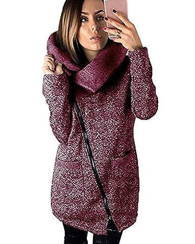 Tomwell Manteaux Hiver Femme Grande Taille Veste à Capuche Manteau Long Fermeture éclair Sweatshirt Pullover Casual Hoodie Outwear Sport Violet FR 50