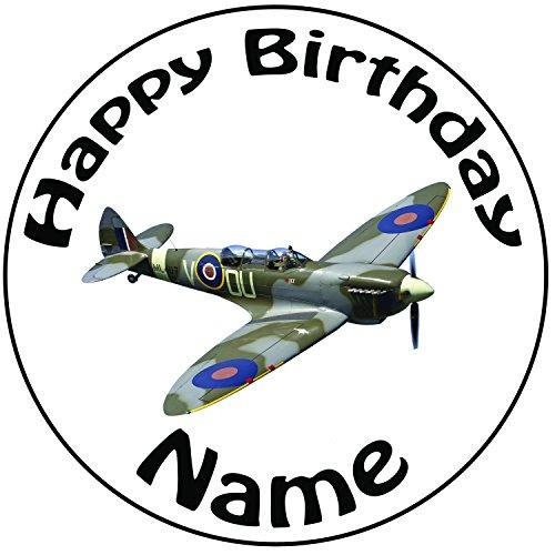 personalisierbar Military Spitfire Flugzeug Kuchen Topper–Einem vorgeschnittenen Rund 20,3cm (20cm) Zuckerguss (Royal Halloween Toppers Icing Cupcake)