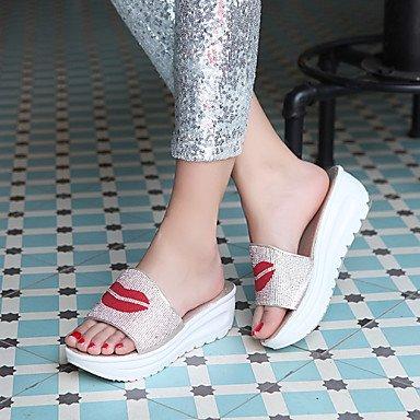 Zhenfu Women's Summer Club Sandales Microfibre Chaussures Occasionnels Talon Compensé Argent Or Blanc Or