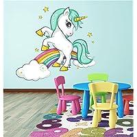 Red Parrot Graphics Unicorn Rainbow Clouds Girls Bedroom Wall Art Sticker Decal Transfer Print P2M (x large 94cm x 87cm)