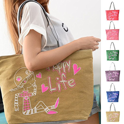 Hrph Reizender Kaninchen-Canvas Handtasche Preppy Schultasche für Mädchen-Frauen-Handtaschen , nette Taschen purple