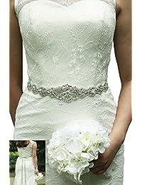 Lemandy Handmade Rhinstone Sash Belts for Wedding Bridal Dress Satin Belt A34