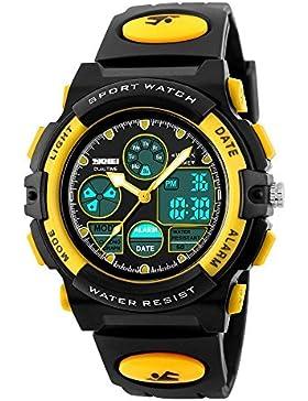 SKMEI Kinders Junges Mächens Analog Digital LED Rücklicht Uhren Woche Alarm Chronograph Armbanduhr-Gelb