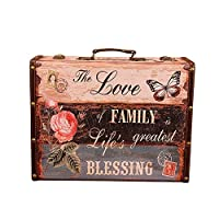 Yamyannie-Home Large Storage Trunks Vintage Storage Suitcases Decorative Storage Box With Beautiful Pattern For Bedroom, Living Room (Color : Multi-colored, Size : 53x38x20cm)